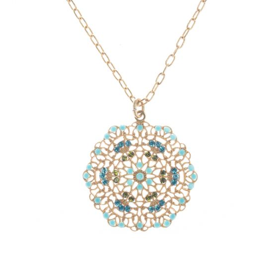 Catherine Popesco Small Lacy Medallion Gold Crystal Necklace - Turquoise