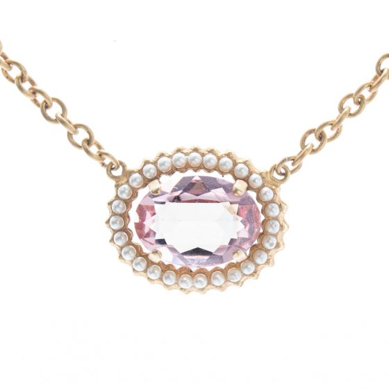 Catherine Popesco Oval Crystal Frame Necklace - Pink & Pearl