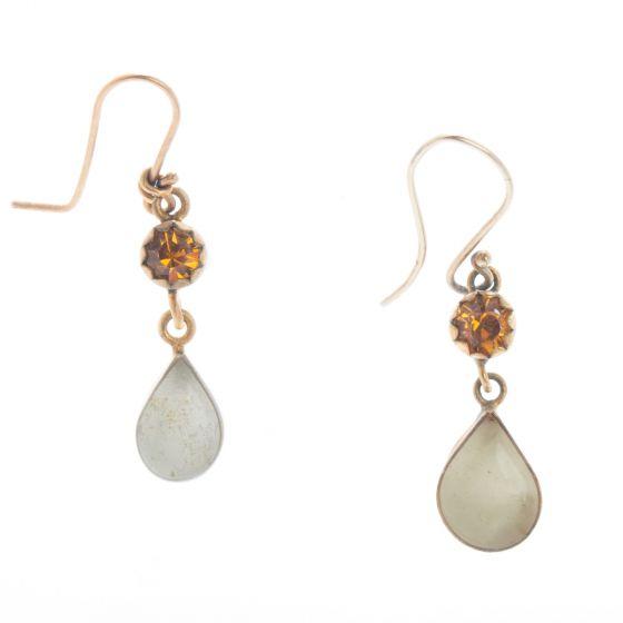 Barbosa Jewerly - Sweet Ivory Drop with Amber Crystal Enamel Earrings