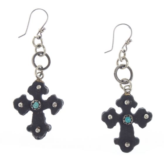 Barbosa Jewerly - Rusty Iron Cross with Turquoise Stone Earrings