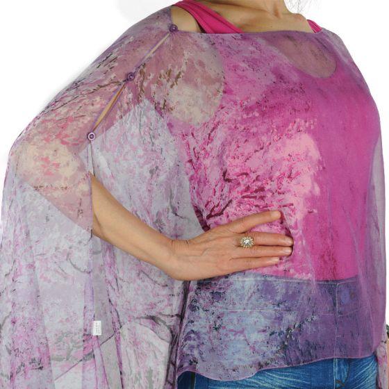 Magic Scarf Company Silky Chiffon Button Scarf Poncho - Purple Trees