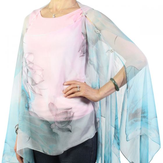 Magic Scarf Company Silky Crystal Button Scarf Poncho - Teal & Pink Lotus