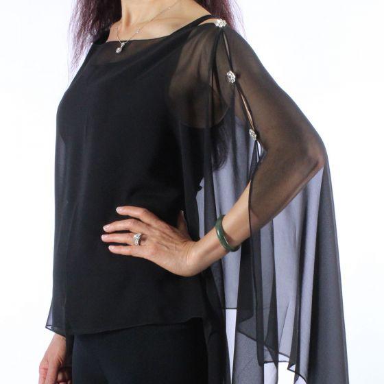Magic Scarf Company Silky Crystal Button Scarf Poncho - Solid Black