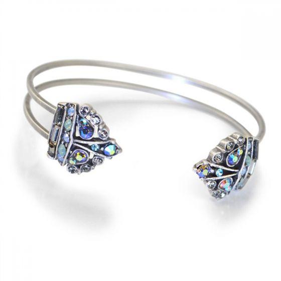 Sweet Romance Jewel Tip Crown Crystal Cuff Bracelet - Silver & Blue