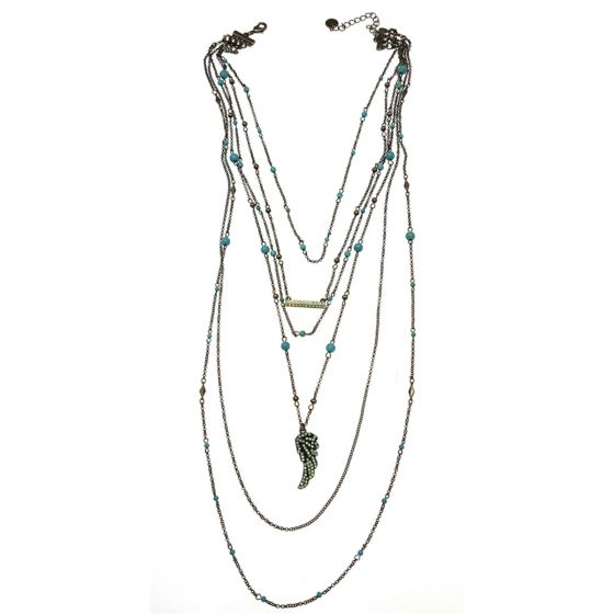 Sweet Lola 6 In 1 Necklace with Turquoise Beads and Pacific Opal Wing & Bar