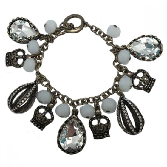 Sweet Lola Charm Bracelet with Crowns, White Opal & Clear Crystals