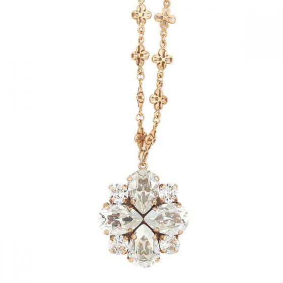 Catherine Popesco Teardrop Quatrefoil Shade Crystal Pendant Necklace