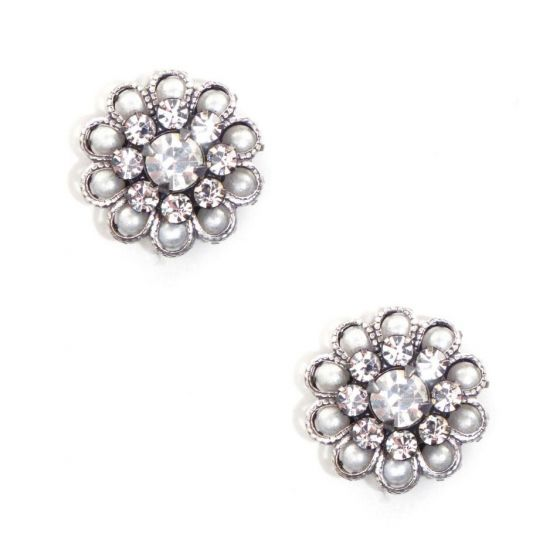 Clara Beau Jewelry Antique Silver Crystal & Pearl Post Earrings