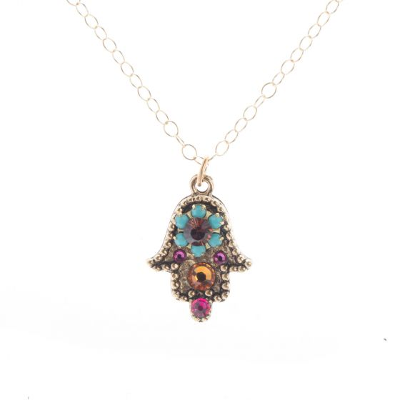 Clara Beau Antique Gold Hamsa Hand Multi Color Crystal Pendant Necklace
