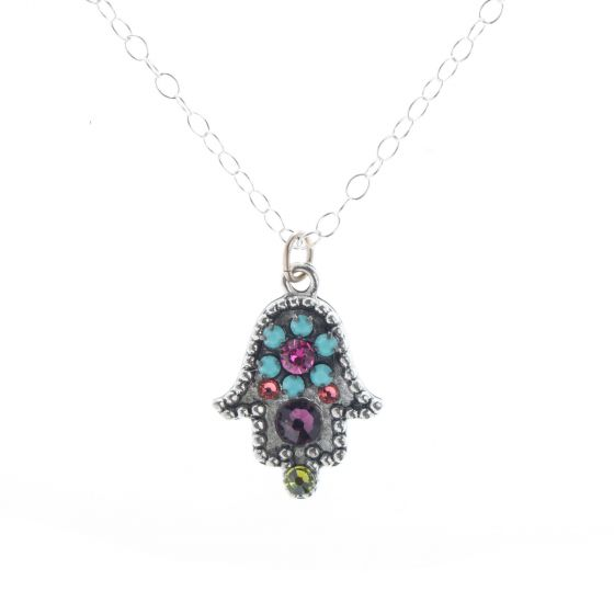 Clara Beau Antique Silver Hamsa Hand Multi Color Crystal Pendant Necklace