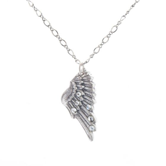 Clara Beau Jewelry Antique Silver Crystal Wing Pendant Necklace