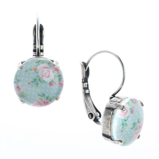YPMCO 12mm Shabby Chic Pink & Blue Rose Pattern Earrings