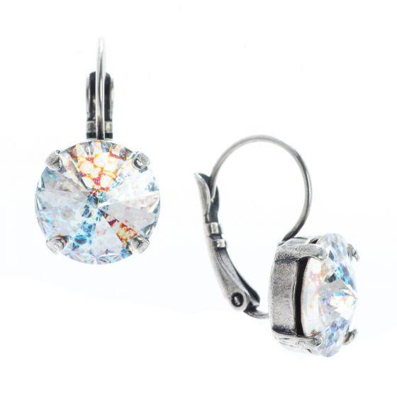 YPMCO 12mm Rivoli Swarovski Crystal White Patina Silver Earrings