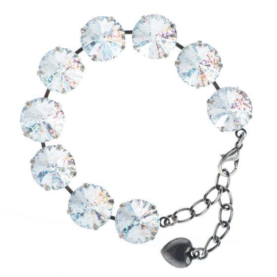 YPMCO 14mm Rivoli Swarovski Crystal White Patina Silver Bracelet
