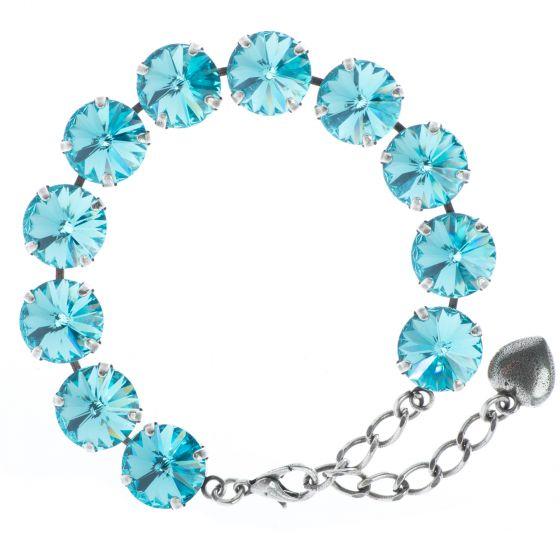YPMCO 12mm Light Turquoise Rivoli Swarovski Crystal Silver Bracelet