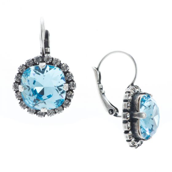 YPMCO Fancy 12mm Aquamarine Swarovski Crystal Earrings