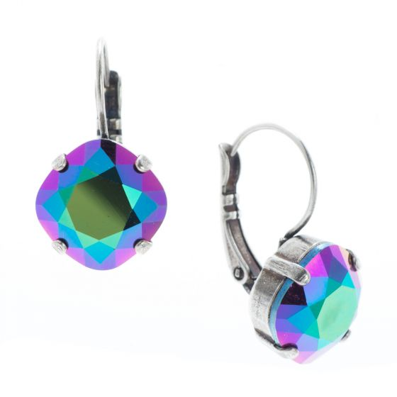 YPMCO 12mm Scarabaeus Green Swarovski Crystal Silver Leverback Earrings