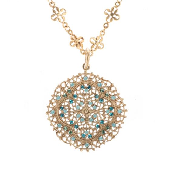 Catherine Popesco Pacific Opal Crystal and Gold Filigree Necklace