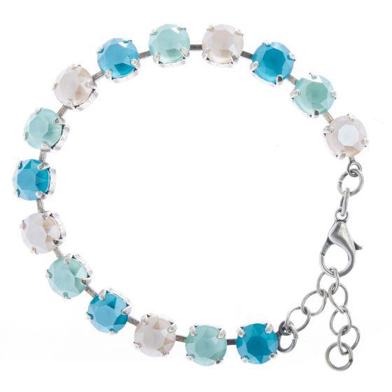 YPMCO 8mm Swarovski Crystal Tennis Bracelet - Blue Ombre Combo