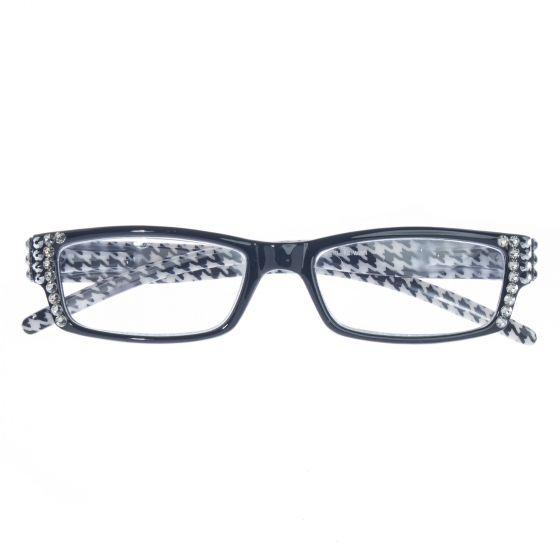 Majestic Eyewear Black & White Houndstooth Swarovksi Crystal Readers
