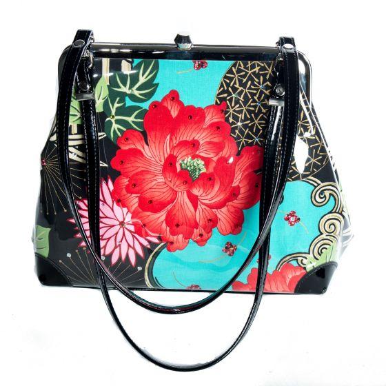 Fabulous! Lady Luck Red Rose Large Kiss Handbag Purse by m.adonia