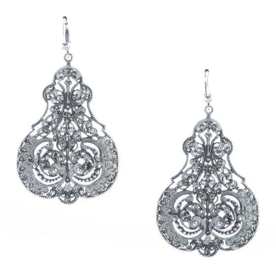 Catherine Popesco Silver Marie French Enamel Contessa Crystal Earrings