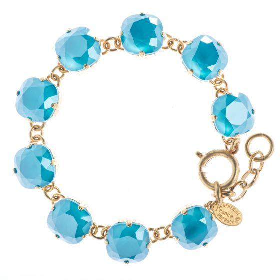 New Color! Catherine Popesco 12mm Large Stone Crystal Bracelet - Azure Blue