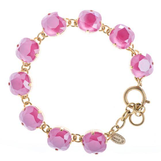 New Color! Catherine Popesco 12mm Large Stone Crystal Bracelet - Peony Pink