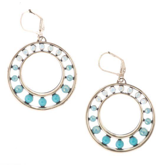 Top Shelf Jewelry White Opal Pacific Opal & Turquoise Crystal Circle Hoop Earrings