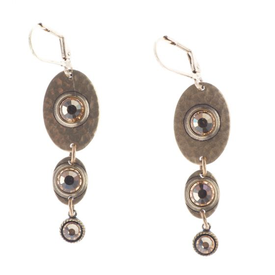 Top Shelf Jewelry Hammered Brass Discs and Crystal Earrings