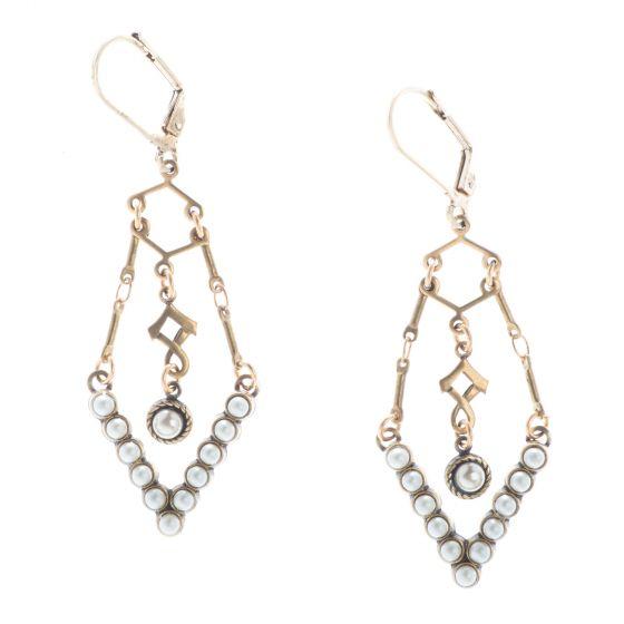 Top Shelf Jewelry Pearl V Drop Brass Earrings
