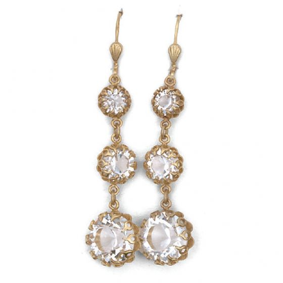 Crystal and Gold Triple Drop Earrings