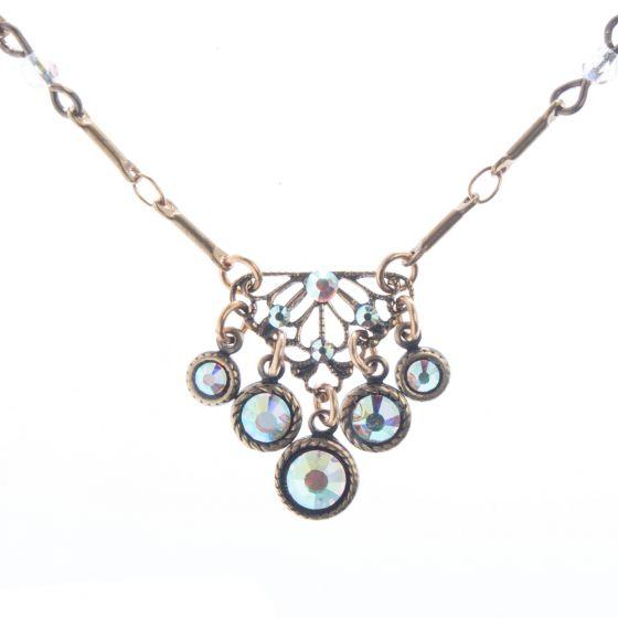 Top Shelf Jewelry Brass Filigree Crystal AB Necklace