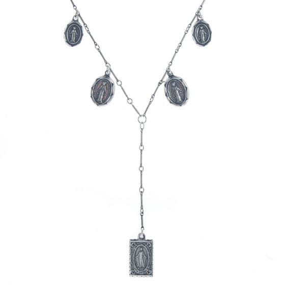 Top Shelf Jewelry Silver Plated Brass Delicate Saint Necklace