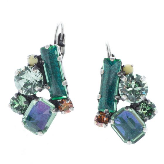 Konplott Jewelry - To Katharine With Love 2 Green Antique Silver Eurowire Earrings
