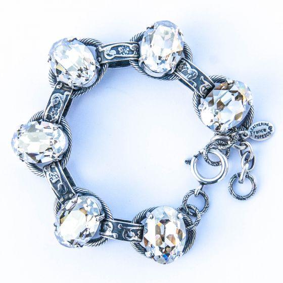 Catherine Popesco Oval Stone Ornate Bracelet in Silver and Crystal