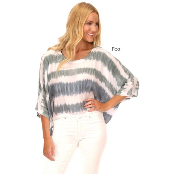Lost River Wave Voile Rayon Wide Crop Top - Fog or Sand