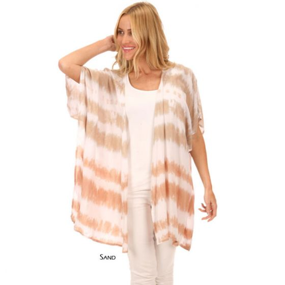 Lost River Wave Voile Rayon Cancun Cover Up - Fog or Sand