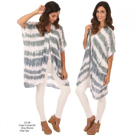 Lost River Wave Voile Rayon Cabo Cover Up - Fog or Sand