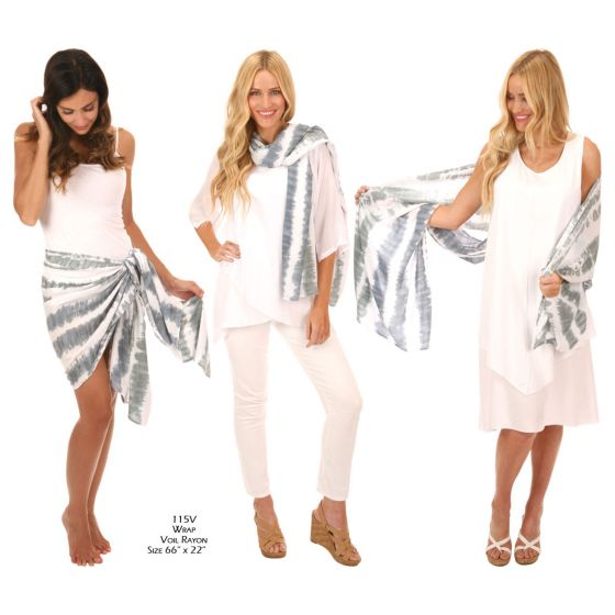 Lost River Wave Voile Rayon Scarf Wrap - Fog or Sand