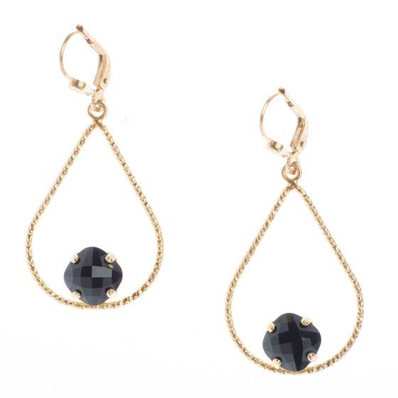 Catherine Popesco Small Teardrop Hoop with Petite Jet Black Crystal Earrings