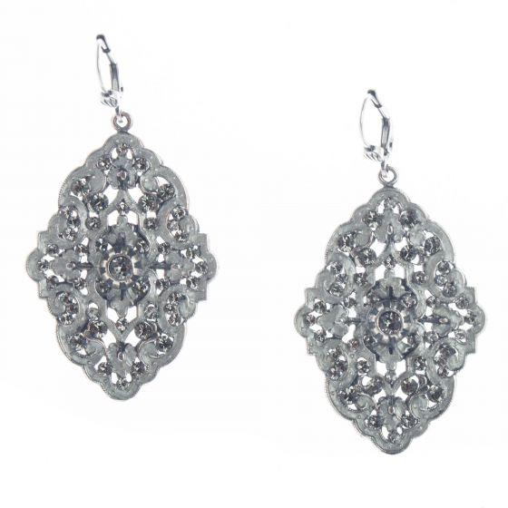 Catherine Popesco Louis Gift French Enamel Crystal Earrings - Silver