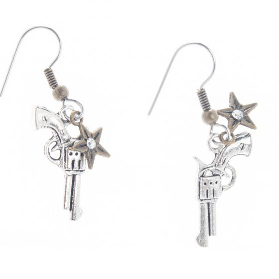Angelz Design Rodeo Queen Jewelry Silver Plated Western Gun with Star Earrings