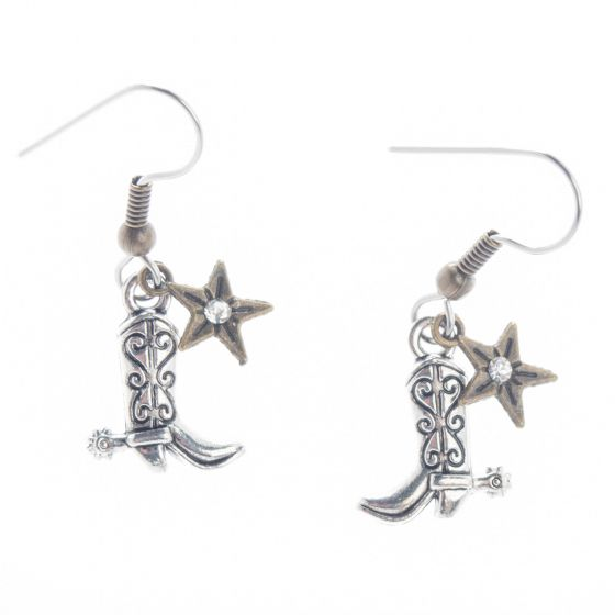 Angelz Design Rodeo Queen Jewelry Silver Plated Cowboy Boots with Star Earrings