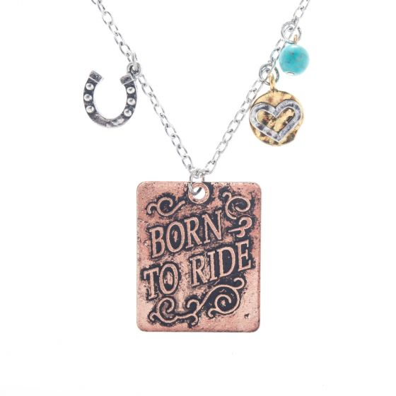 Angelz Design Rodeo Queen Jewelry Silver & Copper Born to Ride Necklace