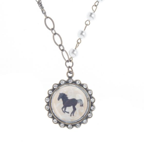 Angelz Design Rodeo Queen Jewelry Crystal Horse Silhouette Necklace
