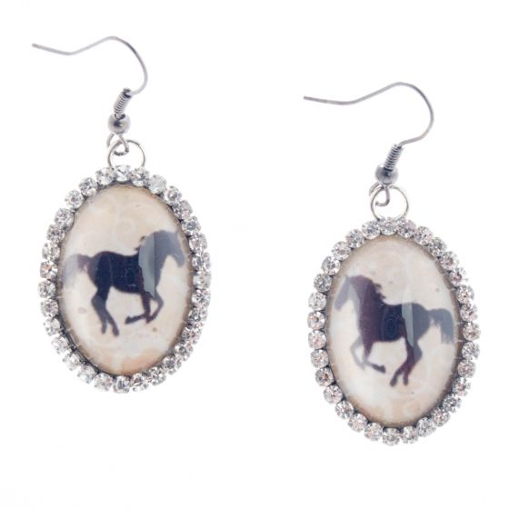Angelz Design Rodeo Queen Jewelry Crystal Horse Silhouette Earrings