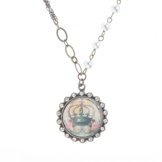 Angelz Design Jewelry Pink Roses & Crown Crystal Pendant Necklace
