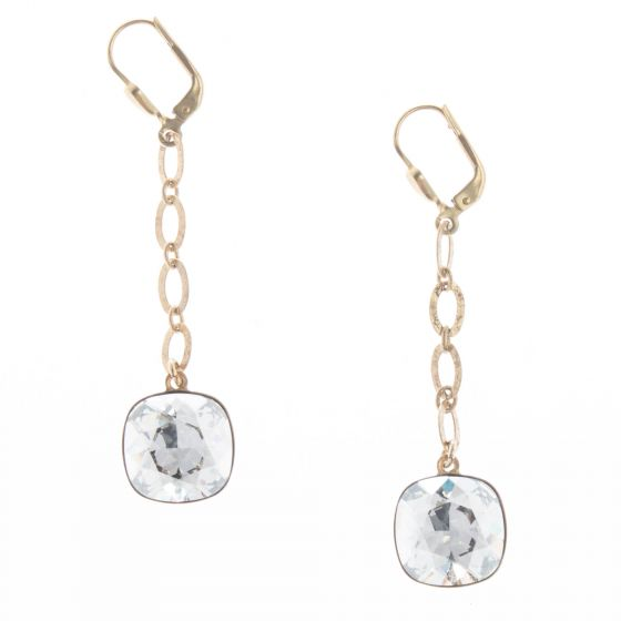 Catherine Popesco Long Drop Large Stone Crystal Earrings - Assorted Colors