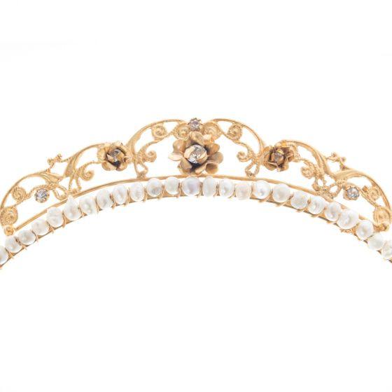 Barbosa Jewelry 24K Gold Plated Mermaid Crown Crystal Rose Pearl Tiara